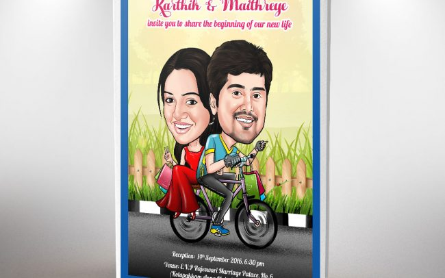 Caricature Wedding Invitation Cards in Chennai | Caricature couple on cycle | Caricature image of bride and groom | That1Card | Jio for Invitations