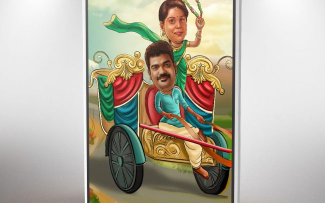 Caricature Wedding Invitation Cards in Chennai | Caricature couple on chariot | Caricature image of bride and groom | That1Card | Jio for Invitations
