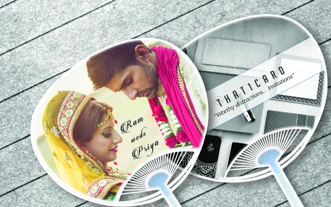 hand-fan wedding cards